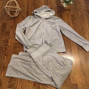 Velour zippered/hooded sweatsuit, Gray, Euc, m